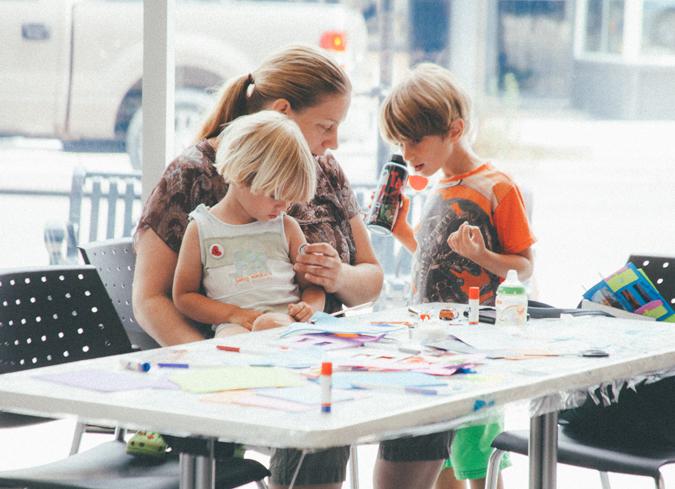 Family doing art activity