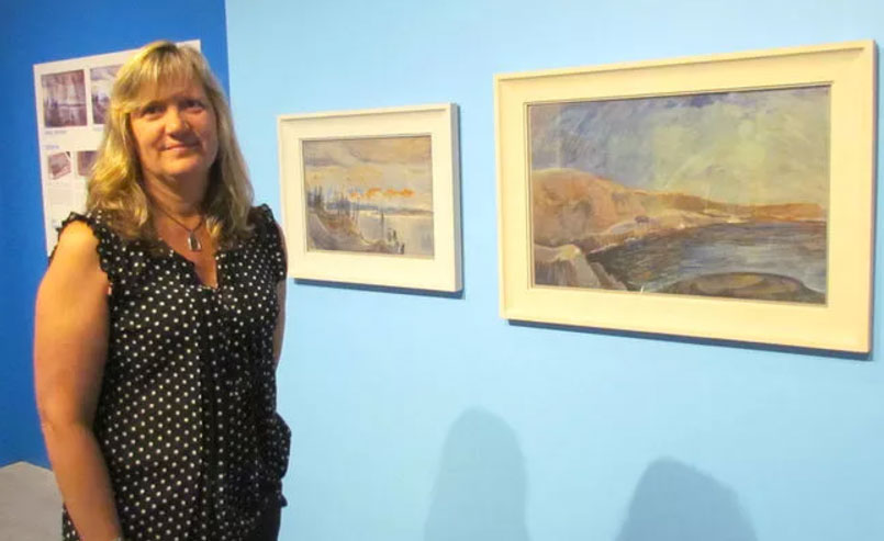 Art Collections Officer, Shelly Mallon with works by Emily Carr