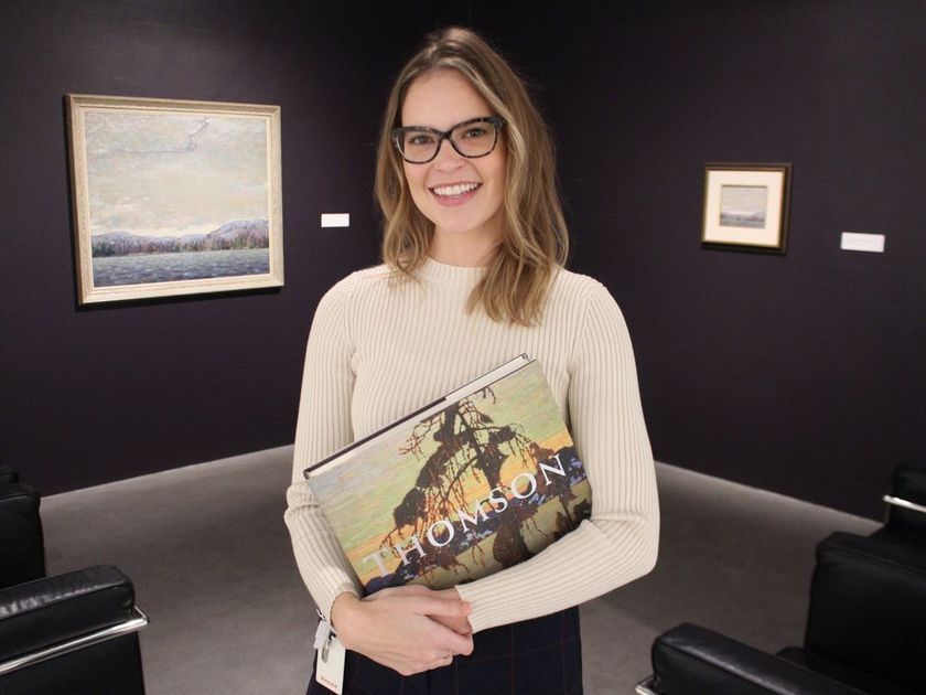 Curator, Sonya Blazek with Tom Thomson's, Chill November